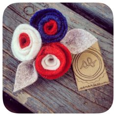 4th of July red white and blue felt flower hair clip by Sarahbellum in Chelan, WA