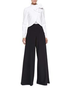 Bow-Neck Jacket with Round Hem & High-Waist Wide-Leg Pants by Alice + Olivia at Neiman Marcus.