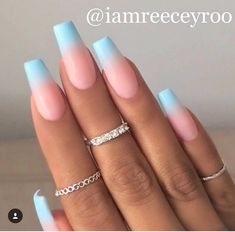 Ombré Nails With Blue . . . Follow Our Pinterest ➡️Hair,Nails,And Style ➡️Hair,Nails,And Style ➡️Hair,Nails,And Style ➡️Hair,Nails,And Style