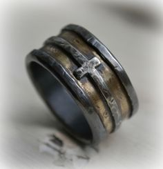 Mens Wedding Band Rustic Fine Silver Br And Sterling Cross Handmade Custom Wide Ring Manly