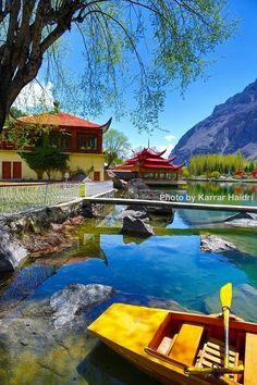 Crystal Clear water in Shangri-La Resort lake, Northern Pakistan.