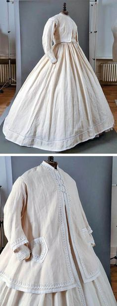 White on white afternoon dress, 1865. Unbleached linen with a frieze entrelac pattern in white braid on the edges, pockets, and cuffs. Worn with a bolero-style jacket or loose-fitting overcoat. Via Drouot Auctions.