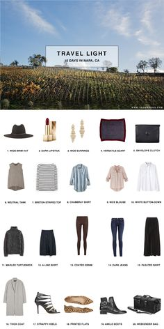 Travel Light - 10 Days in Napa, California with shopping list and outfits. All you need to pack for your vacation. Travel Capsule, Travel Wear, Travel Style, Travel Packing, Shopping Travel, Travel Outfits, Travel Fashion, Travel Wardrobe, Capsule Wardrobe