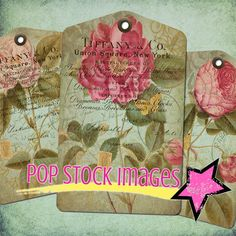 Floral Tags Digital Collage Sheet - Cabbage Roses Shabby Ephemera - Printable Tags - Antique Flowers - Scrapbooking - Tiffany's Invoice