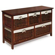 $152.00 Badger Basket Five Wicker Basket Storage Unit! Great for TOY STORAGE in livingroom!