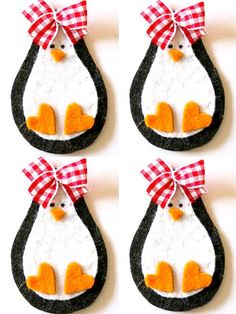 Cute penguins with gingham bows