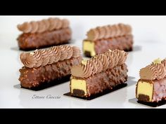 YouTube Individual Desserts, Fancy Desserts, Gourmet Desserts, Delicious Desserts, Dessert Recipes, Eclairs, Ferrero Rocher, Christophe Adam, Modern Cakes