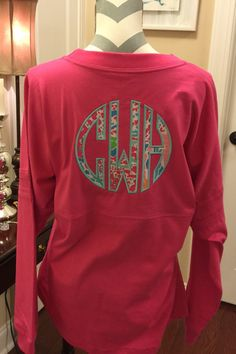 Adult Womens or Teen Lilly Pulitzer Large Applique Double Monogram Pom Pom Spirit Jersey by sewlateedamonogram on Etsy https://www.etsy.com/listing/245283587/adult-womens-or-teen-lilly-pulitzer