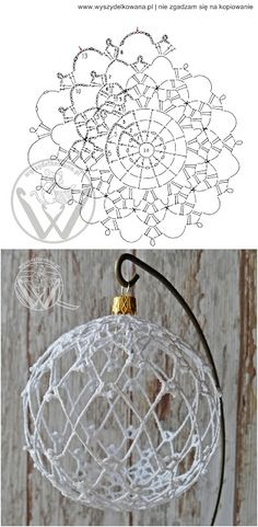 Crochet christmas decorations english 54 Ideas for 2019 Crochet Diy, Lampe Crochet, Art Au Crochet, Crochet Ball, Crochet Home, Thread Crochet, Crochet Crafts, Crochet Doilies, Crochet Flowers