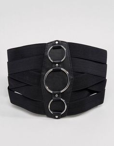 ASOS Wide Elasticated Corset Belt With Ring Detail - Black Waist Cincher,  Corset Belt, 4408d3f8664