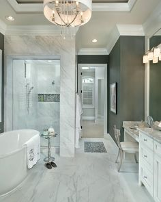 Stunning bathroom design. Wall color is Grizzle Gray by Benjamin Moore #7068.  Arthur Rutenberg Homes