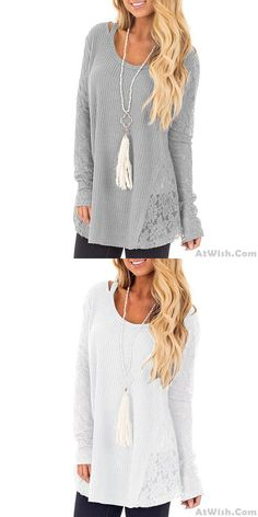 Fashion Hollow Lace Splice Round Neck Long Sleeve Women's Sweater - Cheap Cardigans, Cardigan Sweaters For Women, Cute Sweaters, Girls Sweaters, Long Sweaters, Cardigans For Women, Winter Sweaters, Sweater Cardigan, Cardigan Fashion