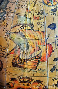 Antique Sea Navigation Map Royalty Free Stock Images - Image: 6435159