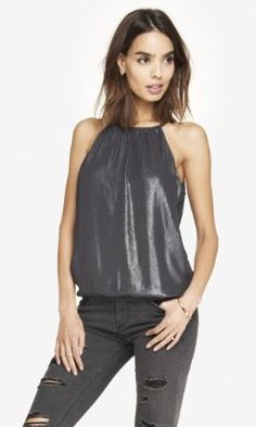 FOILED CHIFFON HIGH NECK BLOUSON CAMI from EXPRESS