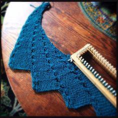 Loom knit shawl in progress. Adventures in Loom Knitting blog post.