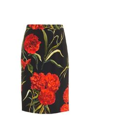 DOLCE & GABBANA Carnation-print pencil skirt (11.506.545 IDR) ❤ liked on Polyvore featuring skirts, dolce&gabbana, black multi, patterned skirts, knee high skirts, dolce gabbana skirt, print pencil skirt and print skirt