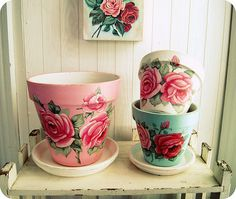Everything's Rosey hand painted flower pots by Everyday is a Holiday (by holiday_jenny)