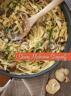 *sub vegan butter and sour cream* A quick and easy meal, perfect for Meatless Mondays! A stroganoff of Shiitake, Baby Portabella and Cremini mushrooms with noodles in a light creamy sauce. Pasta Recipes, Dinner Recipes, Cooking Recipes, Cookbook Recipes, Potato Recipes, Fall Recipes, Cooking Tips, Mushroom Stroganoff, Beef Stroganoff