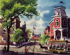 1955 Disneyland souvenir book: Main Street, USA #disney #mainstreetusa