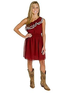 Ladies Maroon with White One Shoulder Ruffle Dress and A&M boots...too cute!