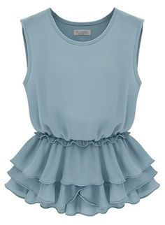 Light Blue Sleeveless Tired Ruffles Hem Chiffon Top