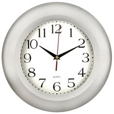 Round Wall Clock with Silver-Tone Frame, Silver