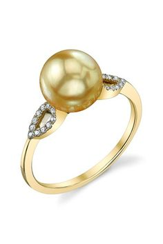 14K Yellow Gold 8mm Golden South Sea Pearl & Diamond Ring