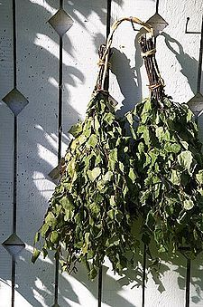 Finnish vihta or vasta made of birch. It is used in traditional saunabathing for massage and stimulation of the skin.