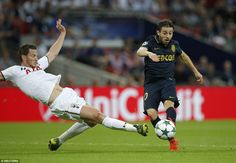 Bernardo Silva (right) opens the scoring for Monaco against the run of play despite Jan…