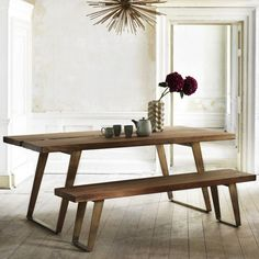 wooden dining tables and benches, sylvester design, graham and green