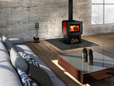 Show off the elegance of this beautiful stove Insert Stove, Roof Brackets, Contemporary Design, Modern Design, Refractory Brick, Chimney Cap, Pellet Stove, Fireplace Inserts, Types Of Doors