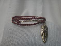 Braided Leather Indian Arrow Wrap Bracelet, Native American Jewelry, Charm Bracelet