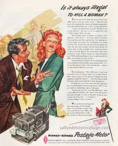 """""""Is it Always Illegal to Kill a Woman? """"No but it may be legal to kill a misogynist copywriter! 1947 Ad #Vintage # sexist #advertising # office # sexist ads #old ads #vintage advertising #1940's"""
