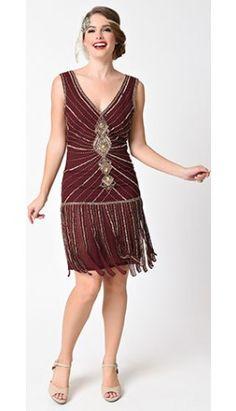 Unique Vintage Deco Merlot Red & Gold Beaded Fringe Aelita Flapper Dress