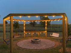 DIY Firepit Pergola for Swings (Instructions + Diagrams) – Remodelaholic Diy Gazebo, Backyard Gazebo, Backyard Seating, Pergola Swing, Backyard Patio Designs, Backyard Projects, Diy Patio, Outdoor Projects, Backyard Landscaping