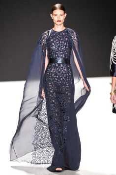 Lazer cut-outs on both the dress and the airy sash. (Naeem Khan Spring 2013 RTW Collection - Fashion on TheCut)