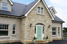 Donegal Sandstone with Plinth Detail - Coolestone Stone Importers Suppliers Masonry Tyrone Northern Ireland Stone Veneer Exterior, Stone Exterior Houses, Bungalow Exterior, Bungalow House Design, House Paint Exterior, Stone Houses, Exterior Design, Dormer House, Dormer Bungalow
