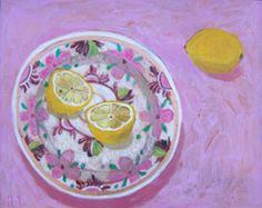 Andrea Letterie, Lemons on a plate, Gemengde techniek op paneel,24x30 cm, €.325,-