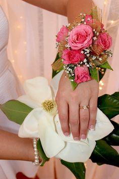 Steel Magnolia's shower, shower, beauty shop bridal shower, big southern hats, seersucker, Truvy's Beauty Spot, magnolia, ring, corsage