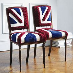 Union Jack chairs.  These would go nicely with the armchair that is also covered with jumpers.