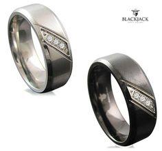 $$14.99 - BlackJack Men's Crystal Stainless Steel or Black Stainless Steel Ring - for Kyle