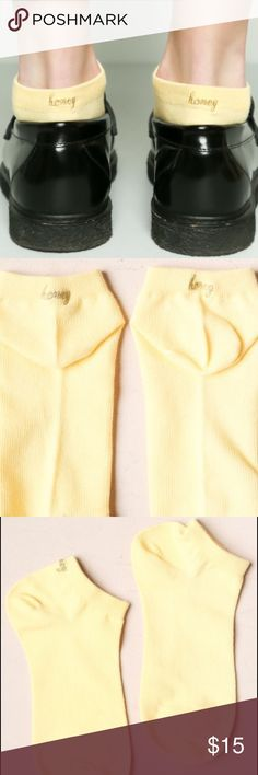"NWT Brandy Melville yellow honey socks ankle cute Super super cute and new ankle socks that are yellow and are embroidered with ""honey"" on the back in gold Brandy Melville Accessories Hosiery & Socks"
