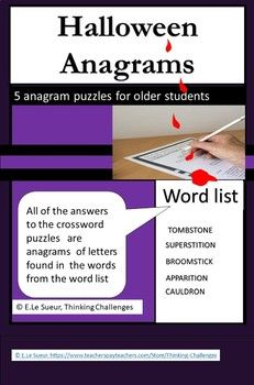 #ThinkingChallenges  Halloween Anagrams Halloween Activities, Classroom Activities, Halloween Fun, Math Literacy, Literacy Centers, Word Work, Critical Thinking, Middle School, Challenges