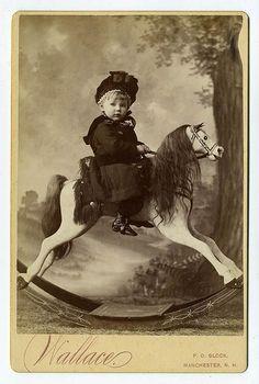 Vintage Rocking Horse ~ Love the look on the little girls face! Rocking horse isn't bad either! Vintage Children Photos, Images Vintage, Vintage Pictures, Old Pictures, Old Photos, Children Pictures, Antique Photos, Vintage Photographs, Victorian Photos