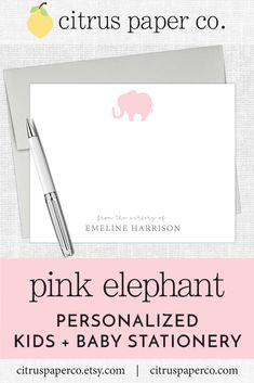 Personalized stationery, just for kids!  Each set of flat note cards is printed on high-quality white cardstock, includes your choice of envelopes, and is packaged in a crystal clear box.  Perfect for casual correspondence or thank you notes, these note cards make the perfect gift!  \\ girls stationery \\ kids stationery \\ pink elephant  \\ baby girl shower \\ thank you notes \\ baby shower \\ baby girl \\ elephant baby shower