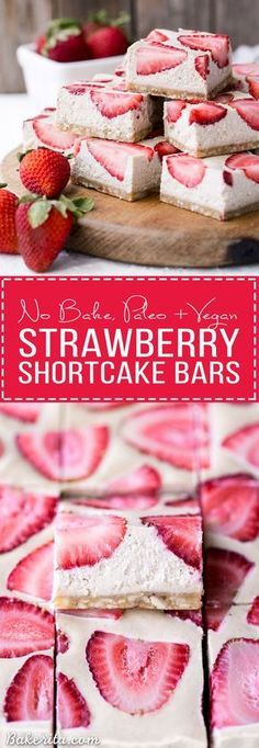 No-Bake Strawberry Shortcake Bars are incredibly creamy from the cashew base and taste just like strawberry shortcake! No baking necessary to make these gluten-free, Paleo, and vegan bars.