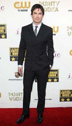 Ian Somerhalder smoking in a dark Dolce & Gabbana double-breasted suit at the 2014 Critic's Choice Awards! | Trend 911