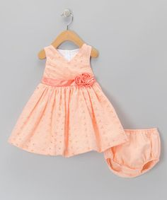 Loving this Orange Gingham Dress & Diaper Cover - Infant, Toddler & Girls on #zulily! #zulilyfinds