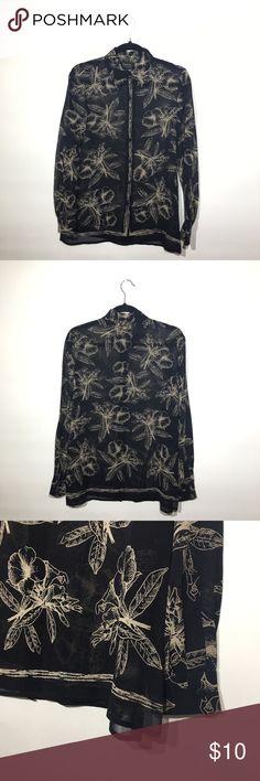 Silk Floral Chiffon Top Eligant navy blue and cream Floral design chiffon shirt, 💯percent silk, EUC Dana Buchman Tops Blouses