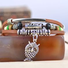 Handcraft Owl Wood Beads Multilayer Wristband Hemp Artisan Leather Bracelet | eBay